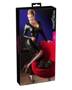 Zwarte lange plussize wetlook jurk