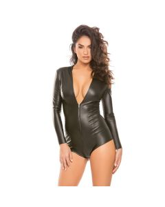 Allure Skin Tight Hooded Body - Zwart voorkant
