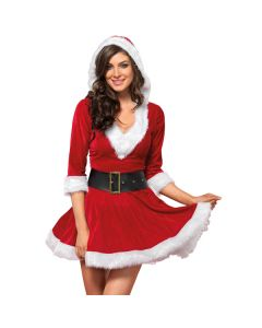 Mrs. Claus Hooded Dress model close-up