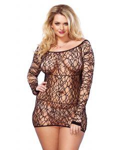 Zwart jurkje van net stof - Plussize