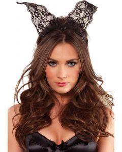 Kanten konijnenoortjes haarband - Zwart