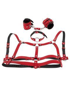 Harnas Set met Halsband en Handboeien - Rood achter