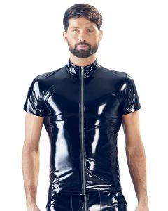 Heren Lak Shirt met Rits - Zwart voor