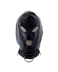 Kunstleren Bondage Masker met Haken - Zwart voorkant