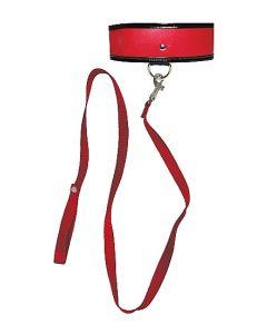 Kunstleren Halsband met Riem - Rood / Zwart los
