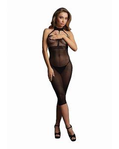Lange halter jurk - Zwart