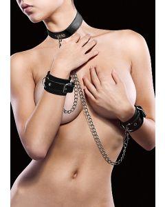 leren-halsband-met-handboeien-zwart