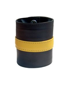 Leren Polsband met Portemonnee - geel dicht