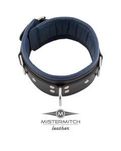 Leren Slavenhalsband Zwart/Blauw - 6.50cm