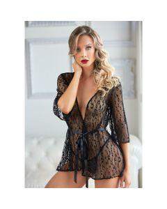 Valentina Leopard Lace Robe & G-string - Zwart