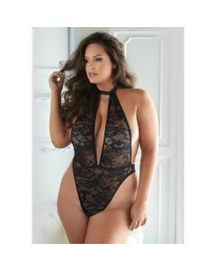 Brooke Mesh & Lace Halter Body - Zwart voorkant