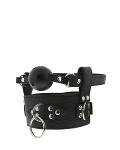 Halsband & Bal Gag met Ademgaatjes - Zwart