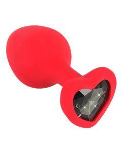 Rode Buttplug met Diamanten Hart - L