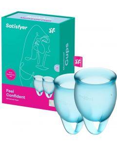 Satisfyer - Feel Confident Menstruatie Cup Set Lichtblauw