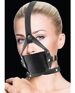 Leather Mouth Gag - Black voorbeeld
