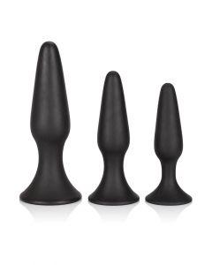Siliconen Anal Trainer Buttplug Set - Zwart