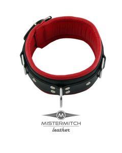 Leren Slavenhalsband Zwart/Rood - 6.50cm