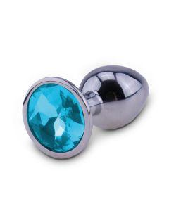 Zilveren Buttplug met Blauw Juweel-M