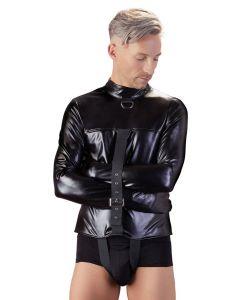 Zwart Kunstleren Bondage Shirt - S/M voorkant