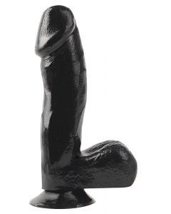 Zwarte dildo met zuignap en ballen – 18 cm