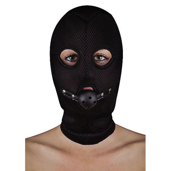 Image of BDSM masker van netstof met open balknevel