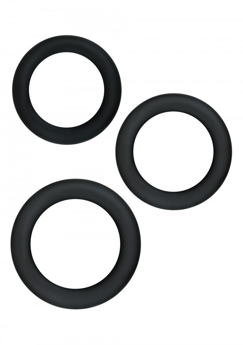 Image of Rekbare Cockringen Set van 3 - Zwart