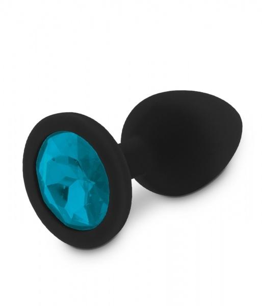 Image of Zwarte Siliconen Buttplug met Blauwe Diamant - S